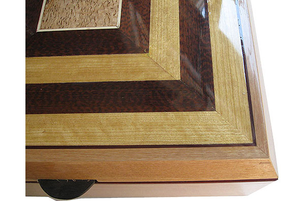 Handcrafted large wood box top close up - Ceylonsatin wood, snakewood framed in European alder