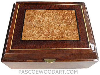 Large handmade wood box - Decorative wood keepsake box made of camphor burl, snakewood, maple burl
