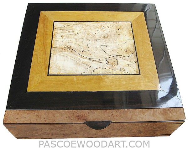 Large handmade wood box - Decorative wood keepsake box or document box made of maple burl, African blackwood, Ceylon satinwood, Blackline spalted maple burl