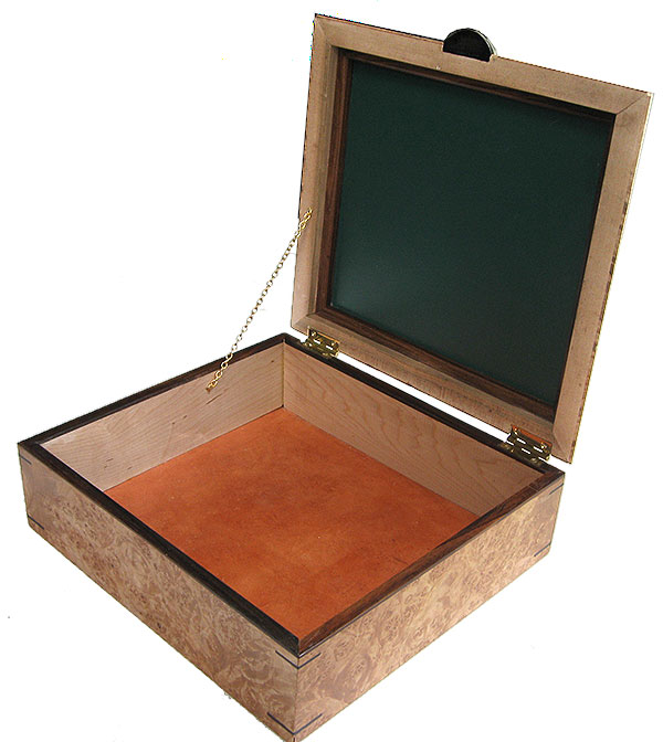 Large handmade wood box open view - Large decorative wood keepsake box or document box
