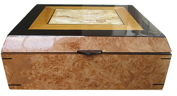 Maple burl box front - Handmade large wood keepsake box