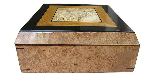 Maple burl box end - Large handmade decorative wood keepske box or document box