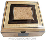 Handmade large wood box - Decorative wood keepsake box or document box made of alder with maple burl center piece top framed with African blackwood and ash