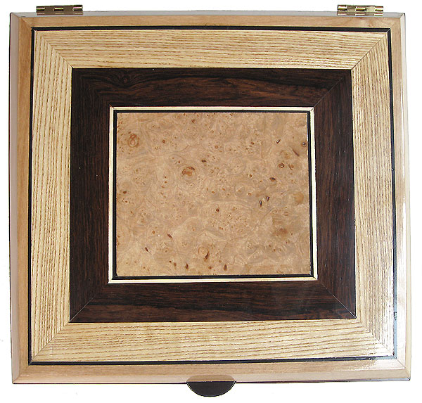 Handcrafted large wood box top - Maple burl center piece framed with African blackwood and ash