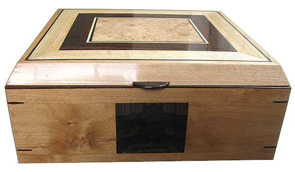 Handcrafted large wood box front - Alder with ziricote inlay