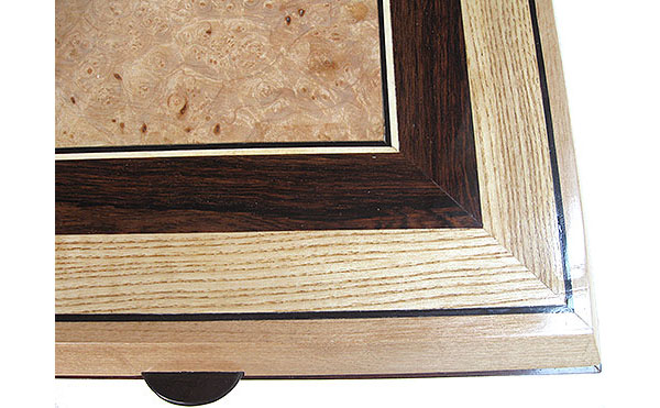 Handcrafted large wood box top close up