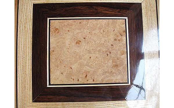 Handcrafted large wood box top - maple burl, African blackwood, ash
