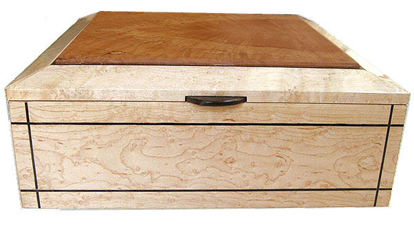 Birds eye maple box front - Handcrafted large wood box - Decorative large  keepsake box
