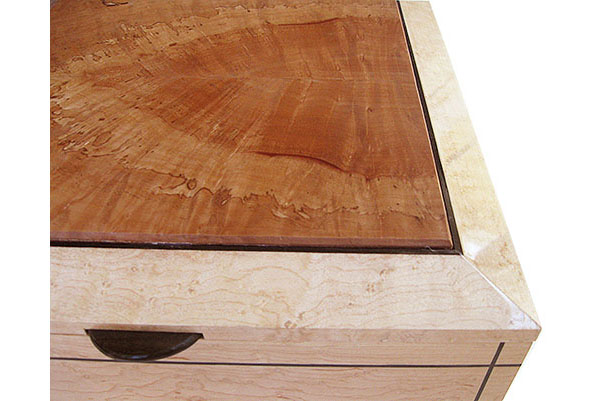 Madrone center piece framed in birds eye maple box top