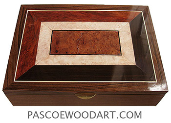 Handcrafted large wood box - Decorative wood keepsake box made of Santos rosewood with mosaic top of bloodwood burl, African blackwood, maple burl and amboyna burl