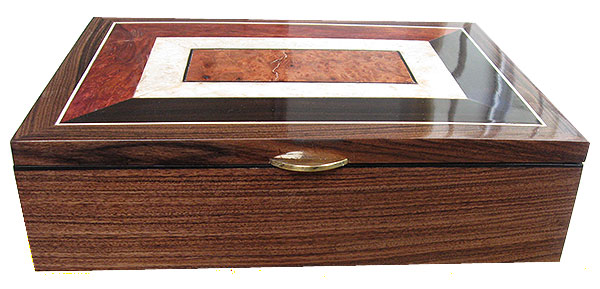 Santos rosewood box front - Handcrafted large wood keepsake box