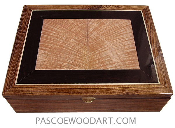 Handcrafted wood box - Decorative large wood keepsake box made of bocote with tiger maple andd African blackwood center piece top