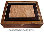Handcrafted large wood box - Decorative wood large keepsake box or valet box made of bocote with tiger maple and African blackwood center piece top