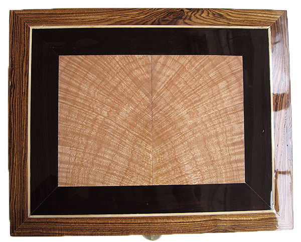 Tiger maple and African blackwood center piece box top - Handcrafted large wood biox, decorative keepsake box
