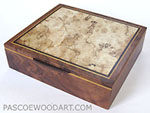 Large keepsake box - Handmade decorative wood box made of walnut veneer body with spalted maple burl top with ebony and Ceylon satinwood accents