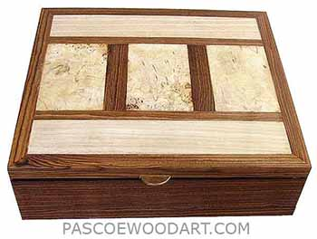 Handmade large wood box - Decorative wood large keepsake box or document box made of bocote with spalted maple and ash inlaid top