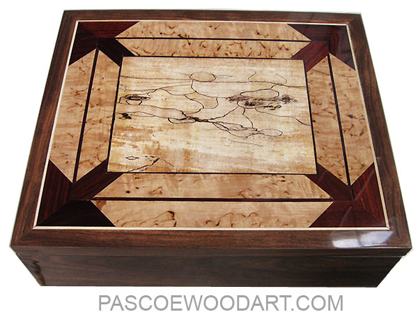 Large handmade wood keepsake box made of chechen with inset mosaic top of cocobolo, masur birch, spalted maple and ebony