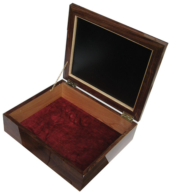 Handmade large wood keepsake box - open view