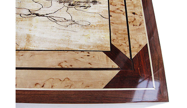 Handmade wood keepsake mosaic top close up - made of cocobolo, spalted maple, masur birch and ebony framed in solid chechen