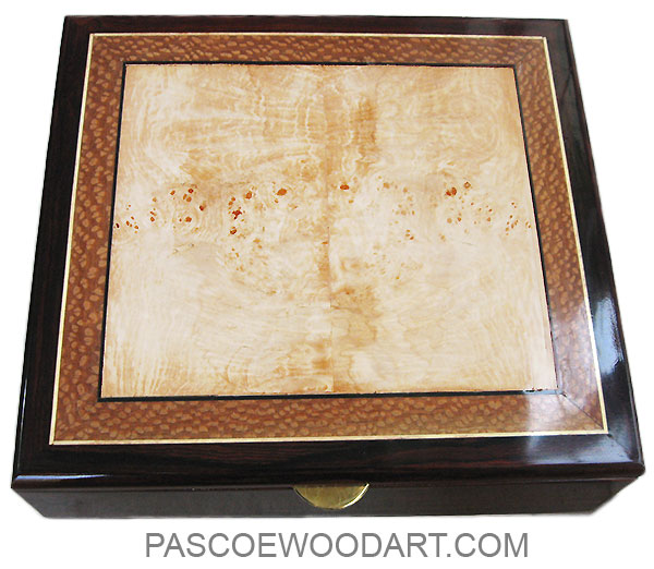 Handcrafted wood large keepsake box or document box made of cocobolo with maple burl framed in lace wood and cocobolo top