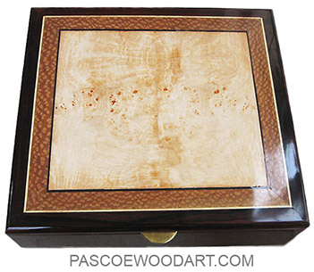 Handcrafted wood keepsake box or document box made of cocobolo with maple burl and lace wood top