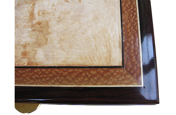 Bleached spalted maple burl framed in lace wood and cocobolo with ebony and holly stringing - Handcrafted large keepsake box