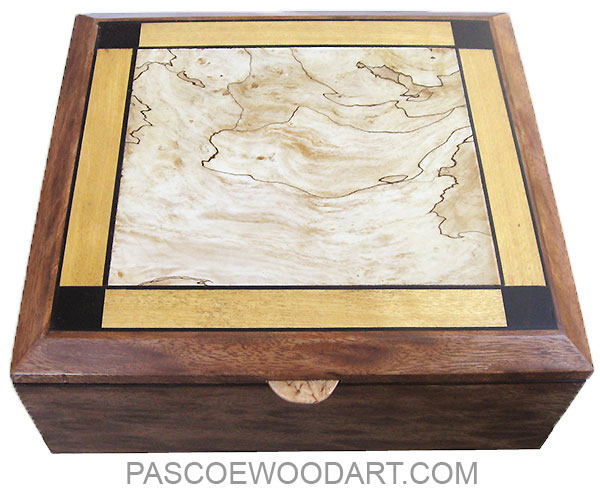 Handmade wood box, large keepsake box made of leopard mahogany with spalted maple, Ceylon satinwood and African blackwood inlaid top