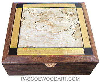 Handmade large wood box - Large wood keepsake box made of mahogany with spalted maple, Ceylon satinwood and African blackwood inlaid top