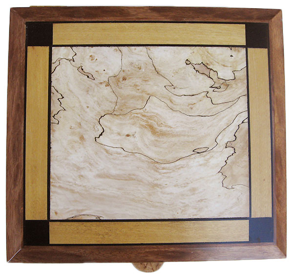 Inlaid box top with spalted maple, Ceylon satinwood and African blackwood framed in leopard mahogany - Handmade large wood box, keepsake box