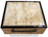 Handmade wood box:Large keepsake box made of figured burly maple, spalted maple burl , African blackwood