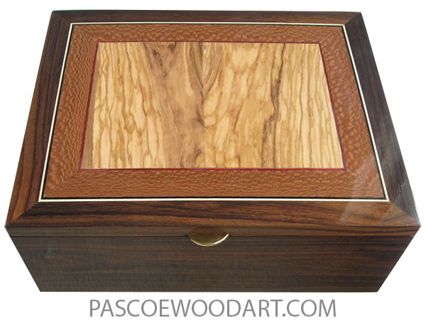 Handmade large wood box - Large keepsake box or document box made of East Indian rosewood with Mediterranean olive center framed in lacewood with loodwood and holly stringing