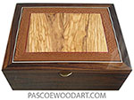Handmade wood box-Large wood keepsake box or document box made of East Indian rosewood, Mediterranean olive and lacewood