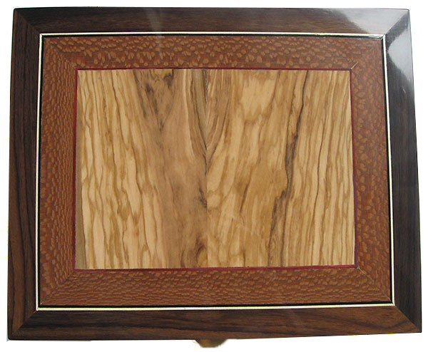 Handmade wood box top: Mediterranean olive center framed in lacewood with blood wood and holly stringing