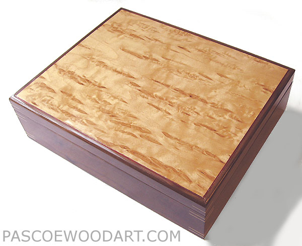 Large keepsake box - Decorative wood large keepsake box - Handmade box made of walnut, Karelian birch burl top