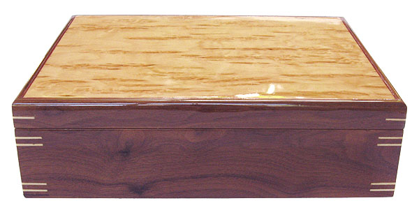 Decorative wood large keepsake box - front view - Handmade box made of walnut, Karelian birch bul