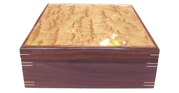 Decorative wood keepsake box side view - Handmade box made of walnut, Karelian birch burl