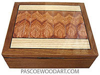 Handmade wood box - Large keepsake box made of shedua with mosaic top of Mediterranean olive and ash