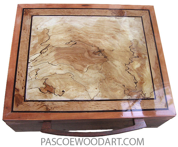 Handmade wood box - Large keepsake box made of Indian rosewood with spalted maple center framed in masur birch top with rustic 