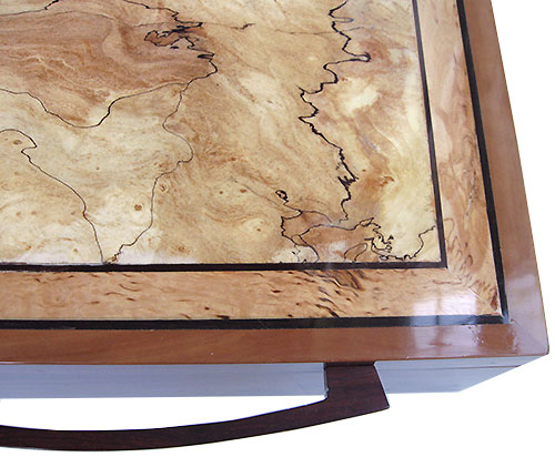 Spalted maple framed in masur birch with ebony stringings box to close up