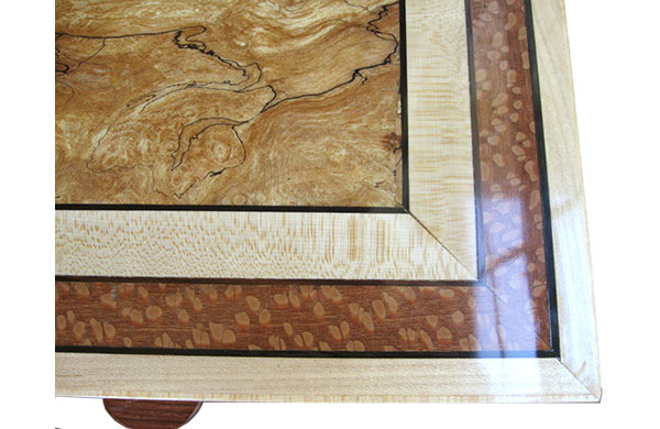 Handmade wood box top close up - Spalted maple center framed in maple and lacewood with ebony stringings