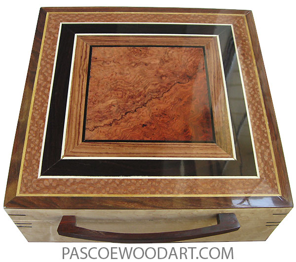 Handmade wood box - Large wood keepsake box made of birds eye maple with amboyna burl center framed in African blackwood, lacewood top
