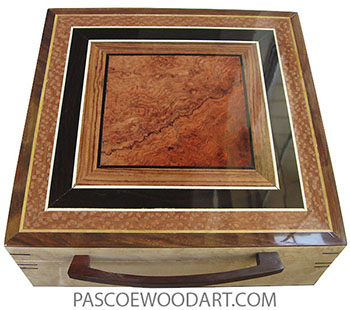 Handmade wood box - Large keepsake box made of birds eye maple with amboyna burl center framed in African blackwood, lacewood top