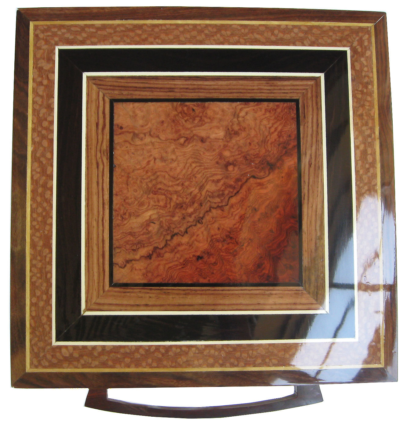 Amboyna burl center framed in Honduras rosewood, African blackwood and lacewood with ebony, holly and satinwood strings box top - Handmade large wood keepsake box
