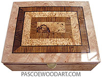 Handcrafted wood box - Large keepsake box made of cluster maple burl with spalted maple burl center framed in bocote, masur birch with ebony strings top