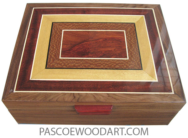 Handcrafted wood box - Large keepsake box made of Santos rosewood with mosaic top of bloodwood, lacewood, Ceylon satinwood