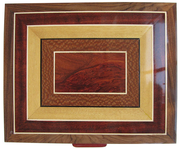 Mosaic top of bloodwood,lacewood, Ceylon satinwood framed in Santos rosewood - Handcrafted wood box, large keepsake box