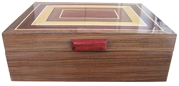 Santos rosewood box front - Handcrafted wood keepsake box