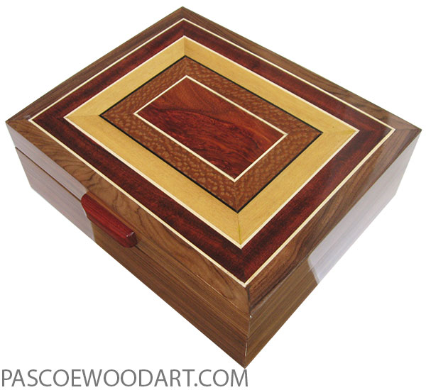 Handcrafted wood box - Large wood keepsake box made of Santos rosewood with mosaic top of bloodwood, lacewood, Ceylon satinwood