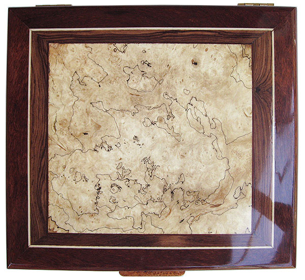 Blackline spalted maple burl center framed in Brazilian kingwood and bloodwood with holly stringing box top - Handcrafted wood keepsake box