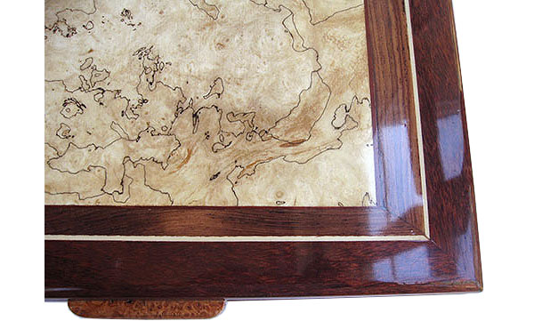 Blackline spalted maple burl center framed in bloodwood and Brazilian kingwood box top - close up - Handcrafted wood box